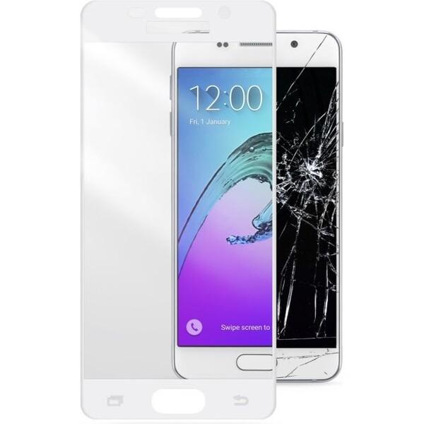 Ochranné tvrzené sklo pro celý displej CellularLine CAPSULE pro Samsung Galaxy A3 (2016), bílé Čirá