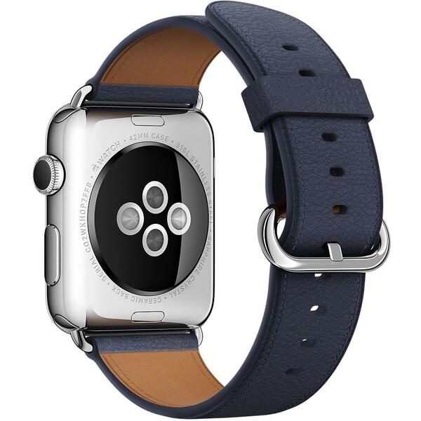 Apple Watch kožený řemínek s klasickou přezkou 42mm půlnočně modrý