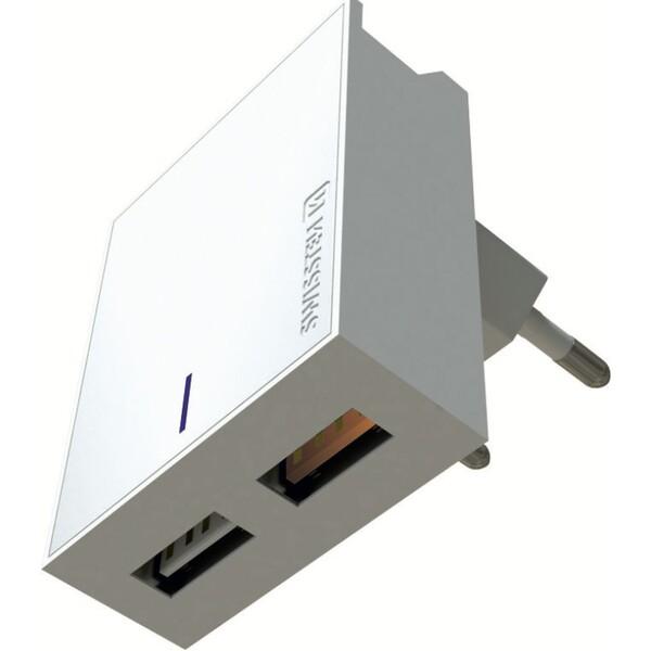 SWISSTEN síťový adaptér 2xUSB, 3A QC 23W bílá