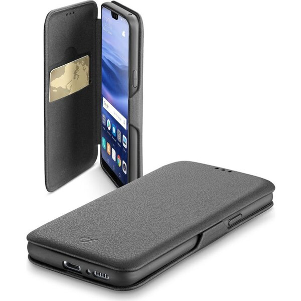 CellularLine Book Clutch pouzdro typu kniha Huawei P20 Lite PU kůže černé BOOKCLUTCHP20LITEK Černá