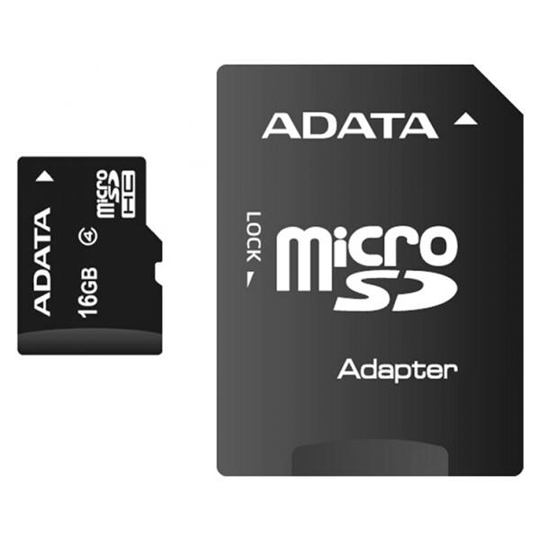 ADATA MicroSDHC 16GB Class 4 + adaptér AUSDH16GCL4-RA1 Černá