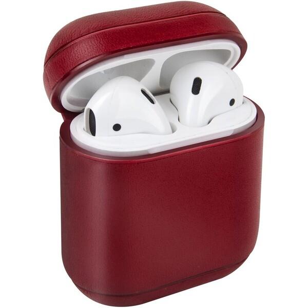 UNIQ Terra kožené ochranné pouzro pro Apple AirPods červené