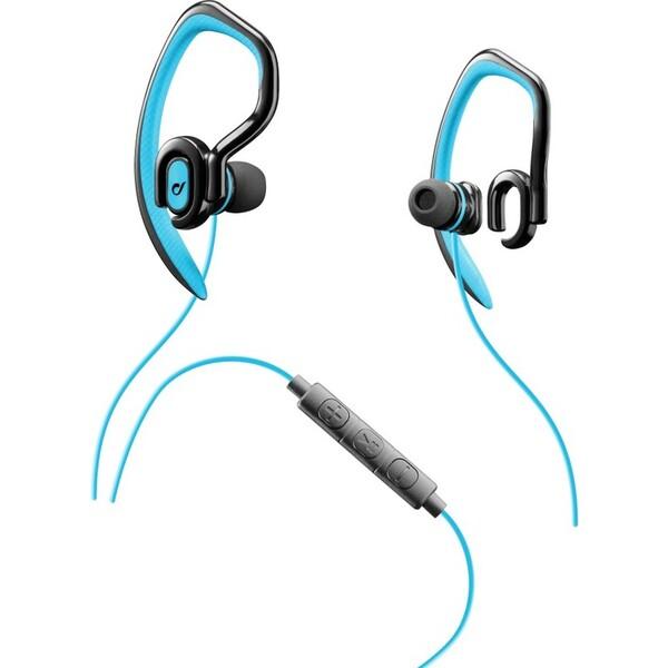 Sportovní in-ear stereo sluchátka CELLULARLINE SPORT JUMP s externím hákem, AQL® certifikace, 3,5 mm Modrá