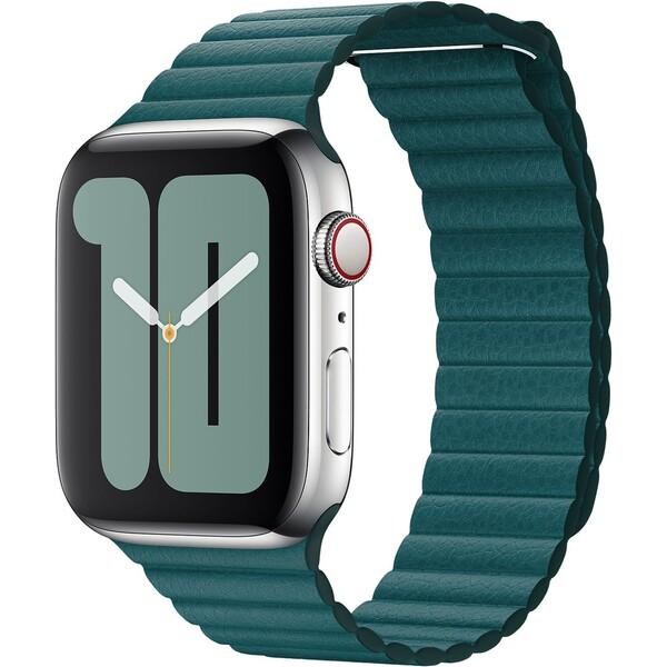 Apple Watch kožený řemínek 44/42mm L ledňáčkově tyrkysový