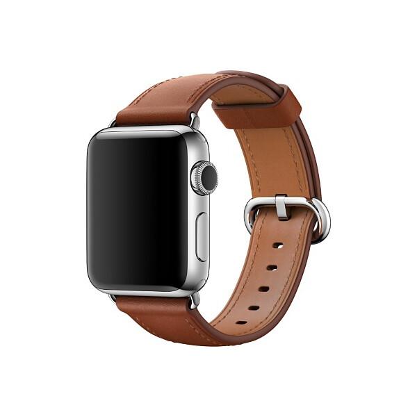 Apple Watch kožený řemínek s klasickou přezkou 38mm sedlově hnědý