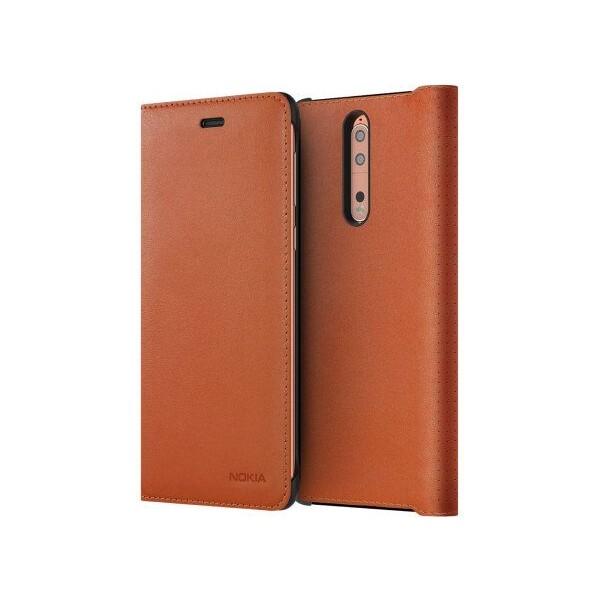 Pouzdro Nokia 8 Leather Flip Cover hnědá CP-801 Hnědá