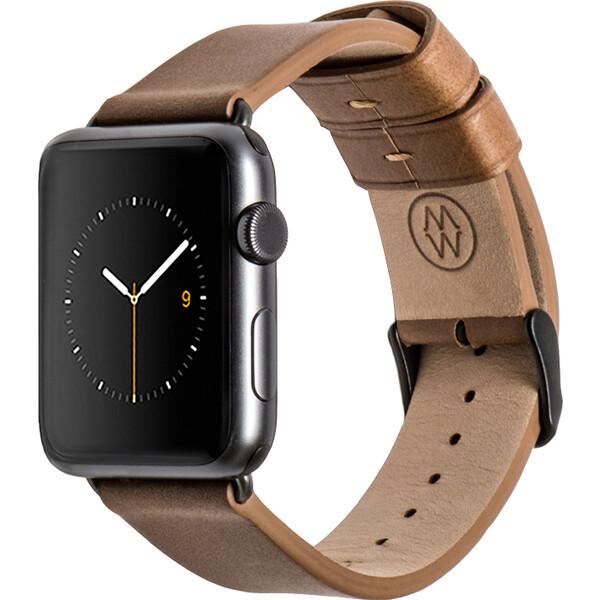 Monowear kožený řemínek s hliníkovými adaptéry Apple Watch 42mm hnědý