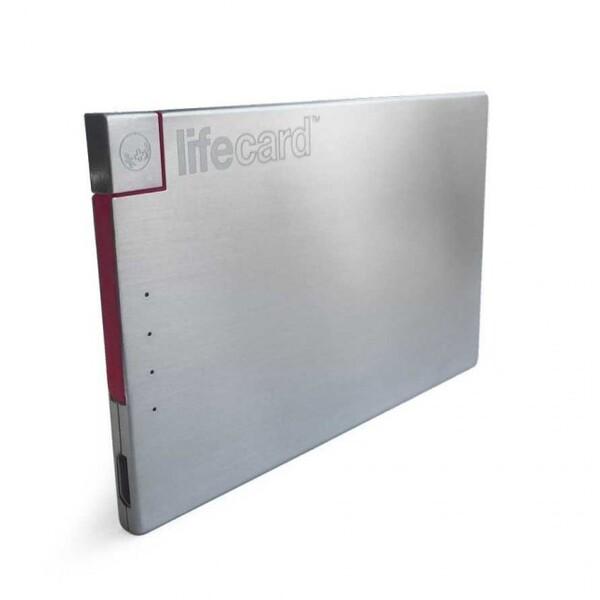 PlusUs Life Card externí nabíječka 1500mAh s Lightning stříbrná Šedá