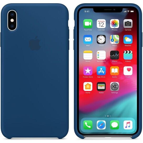 Apple silikonový kryt iPhone XS Max podvečerně modrý