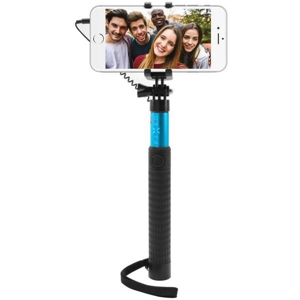 Teleskopický selfie stick FIXED v luxusním hliníkovém provedení, modrá FIXSS-W-BL Modrá