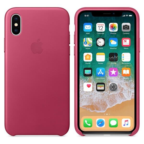 Pouzdro Apple kožené iPhone X fuchsiové Fuchsiová