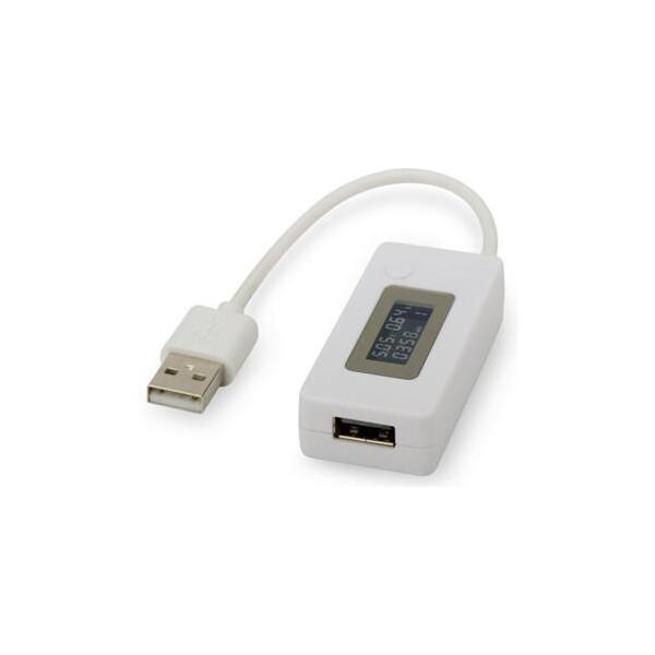 Digitus USB Měření napájení, Vsup / výstup: 3-7V / 50 až 3500 mA LCD indikátor, bílá - DA-70610 Bílá