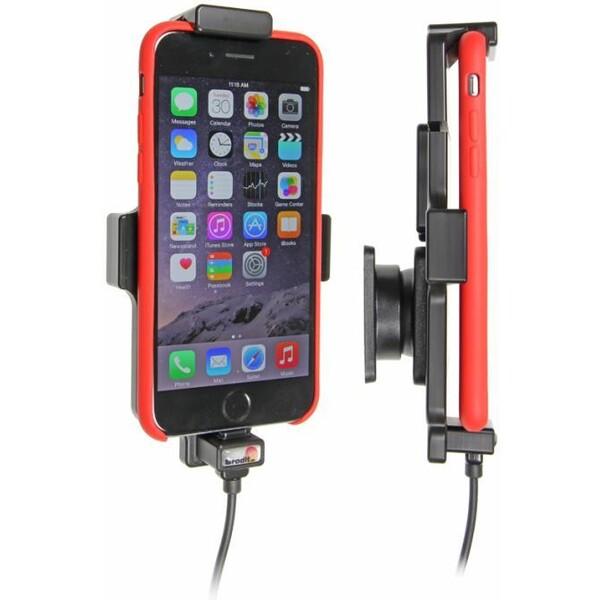 Brodit držák do auta na Apple iPhone 6/6s/7 v pouzdru, s pružinou, s nabíjením z cig. 521662 Černá