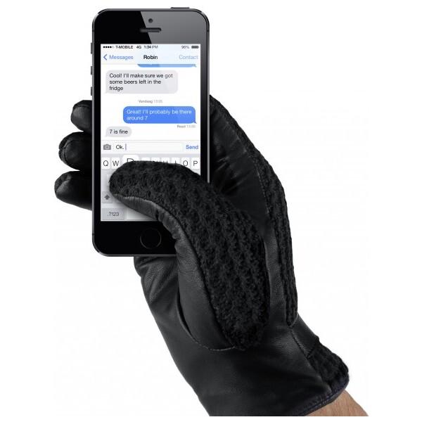 MUJJO Kožené háčkované dotykové rukavice pro SmartPhone (vel. 9) černé Černá