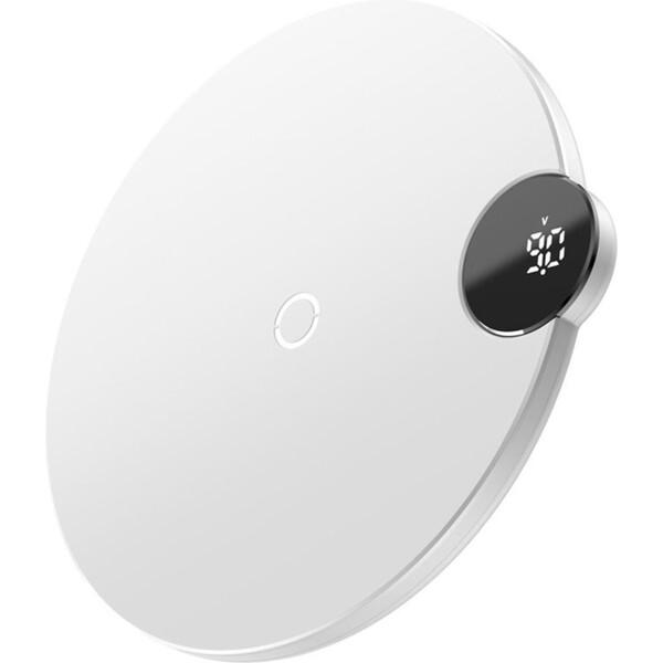 Baseus Digital LED bezdrátová nabíječka 10W bílá