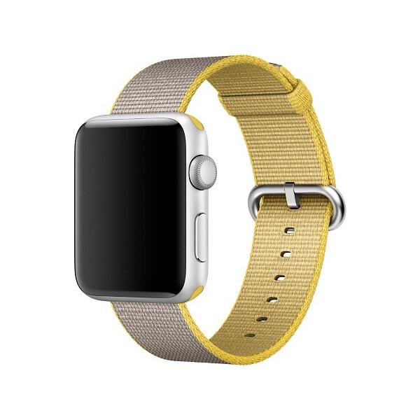Apple Watch tkaný nylonový řemínek 42mm žlutý/světle šedý