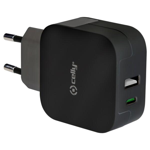 Síťový adaptér CELLY s konektorem USB a USB-C, max. 3,4 A černý TCTYPECUSBBK