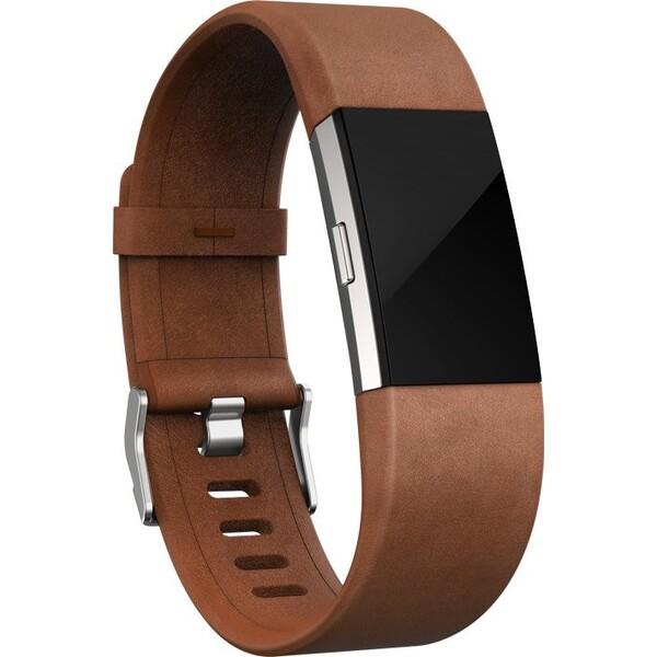 Fitbit náhradní kožený náramek Charge 2 L hnědý