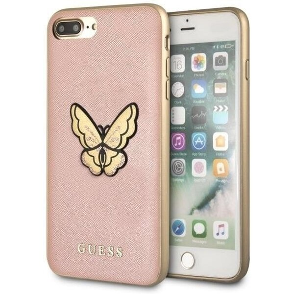 Pouzdro GUESS Saffiano Butterfly Hard Case Rose iPhone 7/8 Plus Růžově zlatá