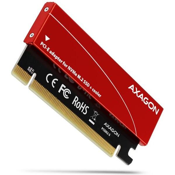 AXAGON PCEM2S PCIe x16 M.2 NVMe Mkey slot adaptér + pasivní chladič