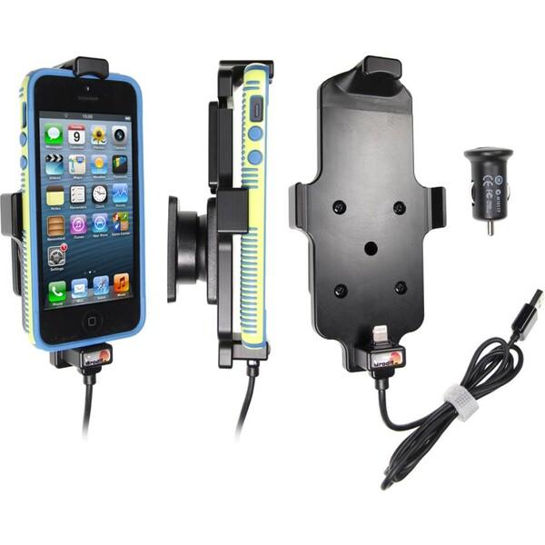 Brodit držák do auta na Apple iPhone 5/5S/SE v pouzdru, s nab. z cig. zapalovače/USB, 521500 Černá