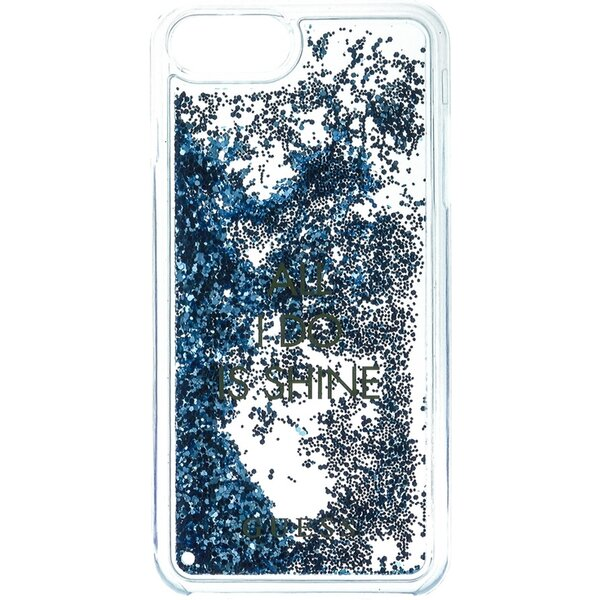 Pouzdro Guess Liquid Glitter Hard Shine iPhone 7 Plus Modrá