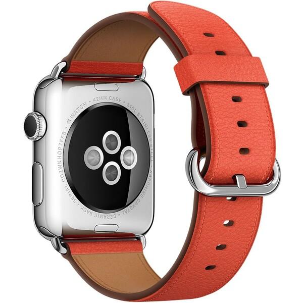 Apple Watch kožený řemínek s klasickou přezkou 42mm červený