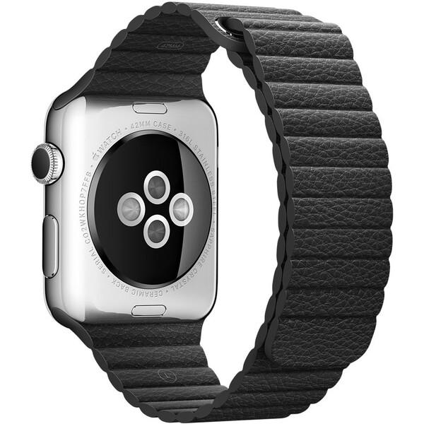 Apple Watch kožený řemínek 42mm M černý