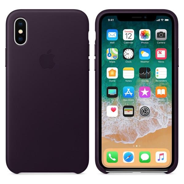Pouzdro Apple kožené iPhone X lilkově fialové Lilkově fialová