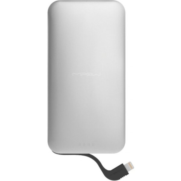 MiPow záložní zdroj 5000 mAh s Lightning kabelem stříbrný