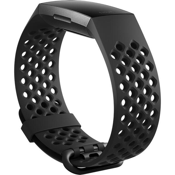 Fitbit Charge 3 silikonový řemínek vel.S Černý FB168SBBKS Černá