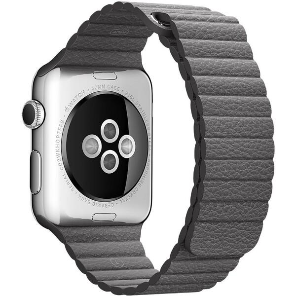 Apple Watch kožený řemínek 42mm L bouřkově šedý