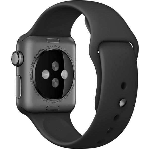 Apple Watch sportovní řemínek 38mm černý s vesmírně černým kolíčkem