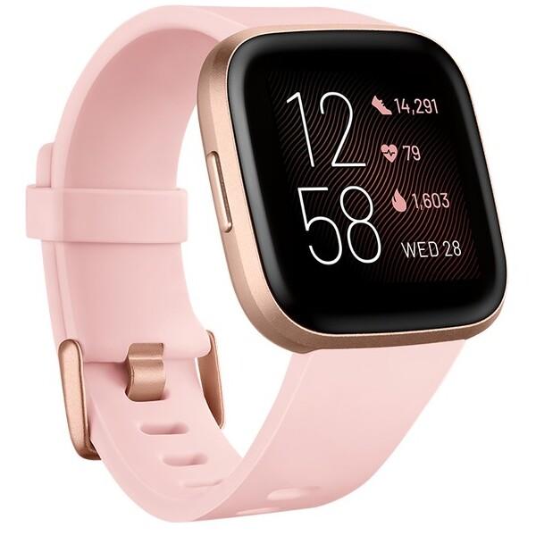 Fitbit Versa 2 světle růžový pásek růžově zlatý hliník