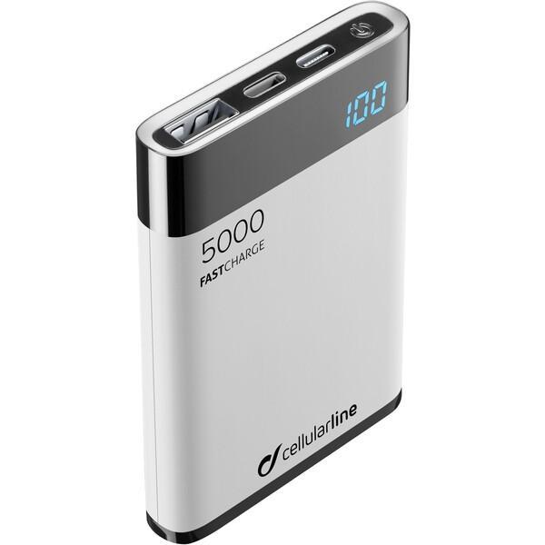 Cellularline FreePower Manta HD 5000 mAh Lightning + USB-C port MFI stříbrná