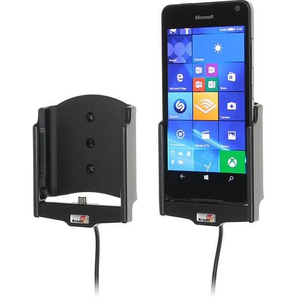 Brodit držák do auta na Microsoft Lumia 650 bez pouzdra, s nabíjením z cig. zapalovače 512873 Černá