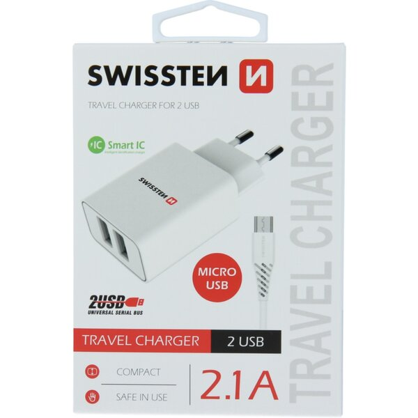 SWISSTEN síťový adaptér 2xUSB, 2,1A bílý + kabel USB/MicroUSB