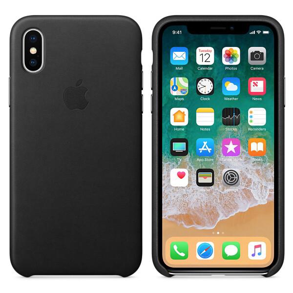 Pouzdro Apple kožené iPhone X černé Černá
