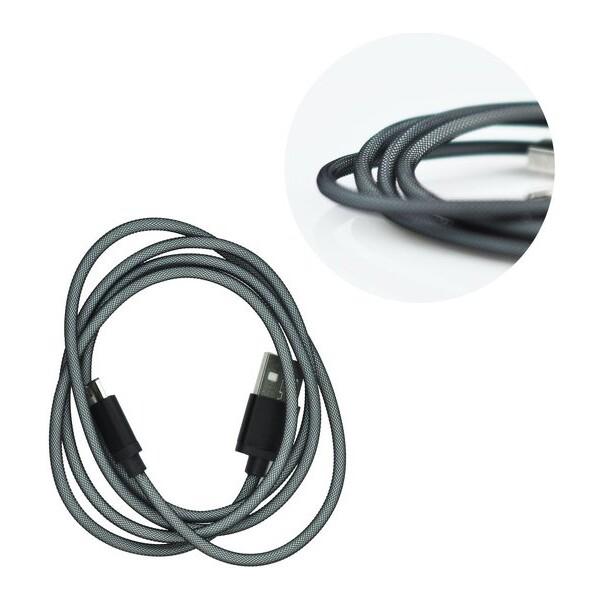 Smarty metalický kabel USB/microUSB černý