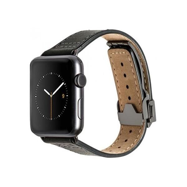 Monowear Deployant kožený řemínek Apple Watch Sport 42mm černý
