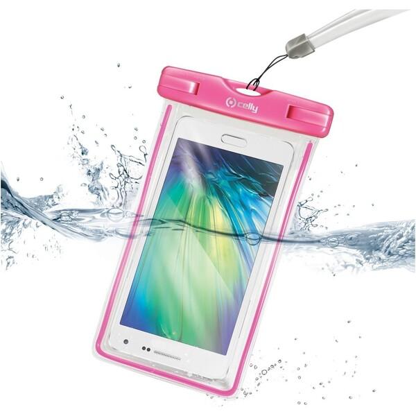 """CELLY univerzální voděodolné pouzdro pro 5,7"""" telefony růžové"""