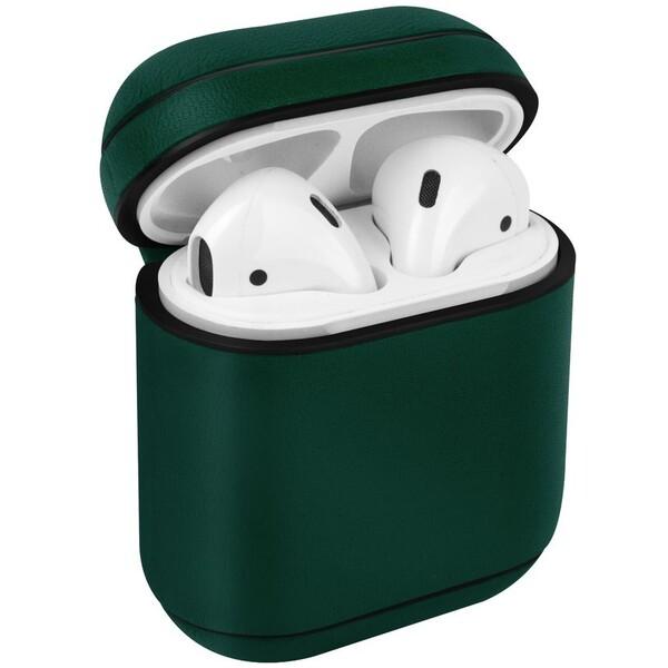 UNIQ Terra kožené ochranné pouzro pro Apple AirPods tmavě zelené