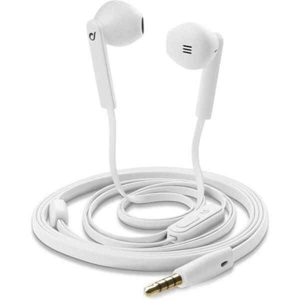 CellularLine MANTIS sluchátka plochý kabel bílé