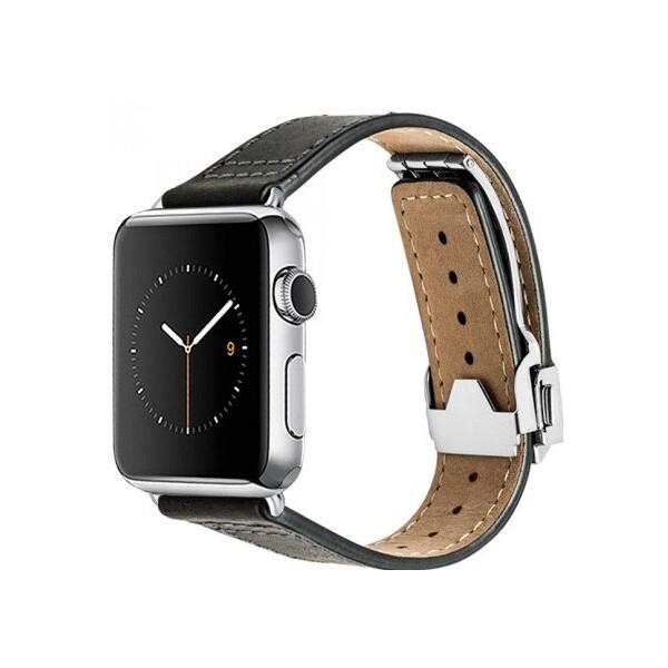 Monowear Deployant kožený řemínek Apple Watch 42mm černý
