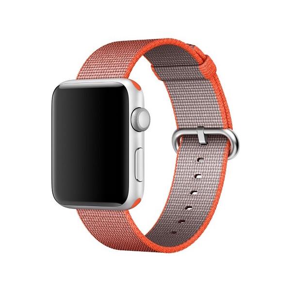Apple Watch tkaný nylonový řemínek 38mm vesmírně oranžový/antracitově šedý