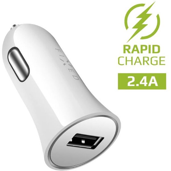 FIXED autonabíječka s USB výstupem 2,4A bílá