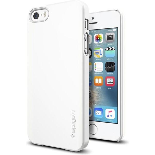 Kryt Spigen Thin Fit, shimmery white - iPhone SE / 5s / 5 (041CS20169) Bílá
