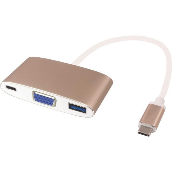 PremiumCord adaptér USB-C na VGA + USB3.0 + PD