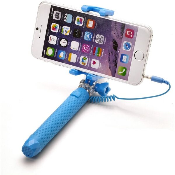 Bluetooth selfie stick CELLY Mini, světle modrá Modrá