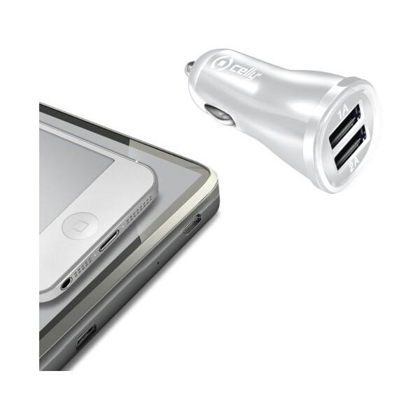 CELLY autonabíječka 2x USB 2,1A bílá